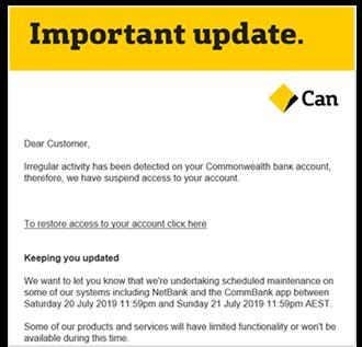 Commbank phishing email example